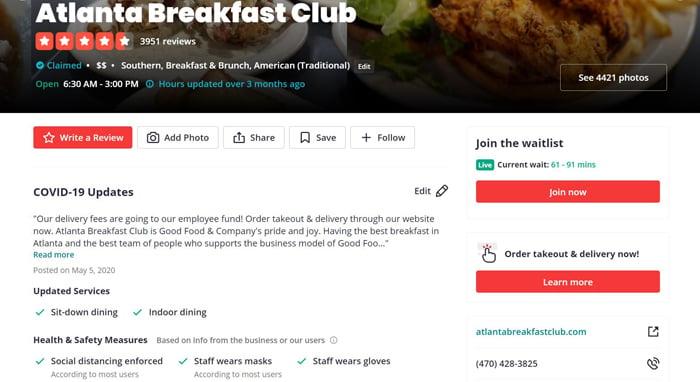 multiple location SEO atlanta breakfast club