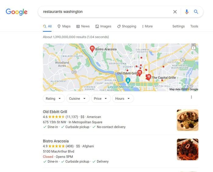 multiple location SEO - restaurants washington