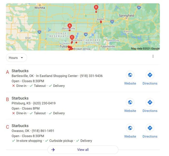multiple location SEO starbucks