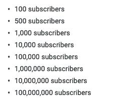 subscriber count - Youtube milestones