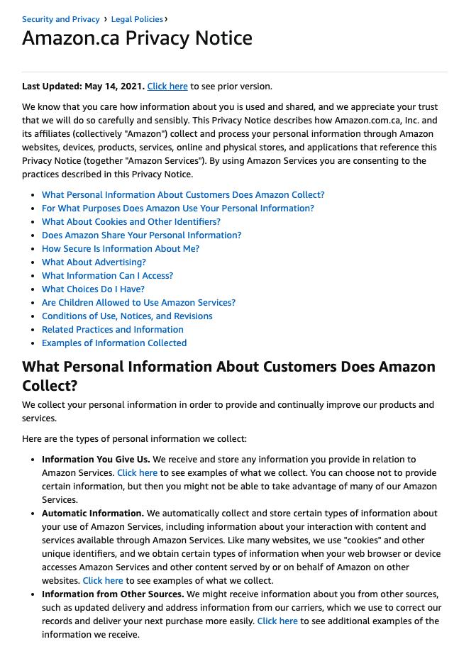 Privacy Policy Generators - amazon canada privacy policy