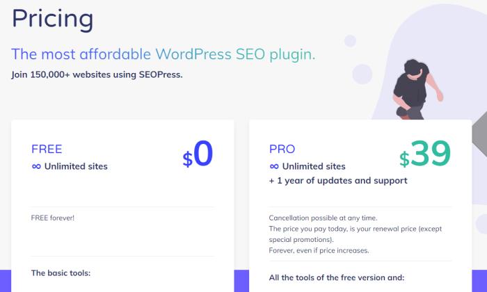 SEOPress pricing wordpress security plugin