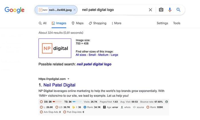 reverse image search - neil patel logo