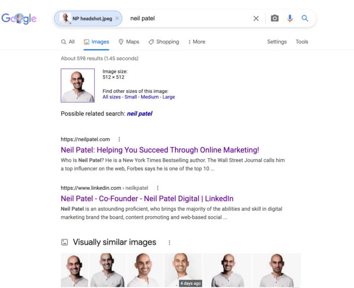 reverse image search - Neil Patel headshot, before fold