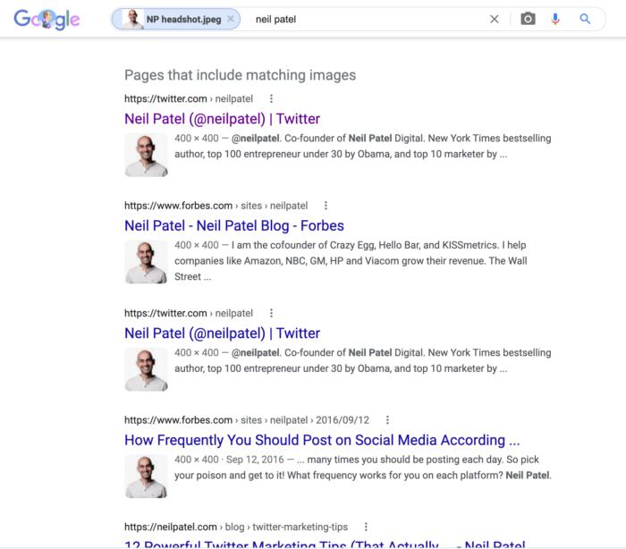 reverse image search - Neil Patel headshot results, below the fold