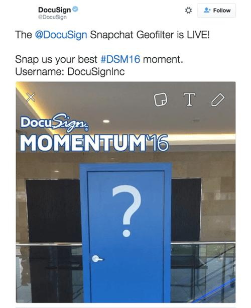 social media marketing docusign snapchat example.