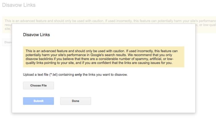 google warning about disavow tool