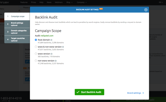 Screen shot showing how to look for bad backlinks.