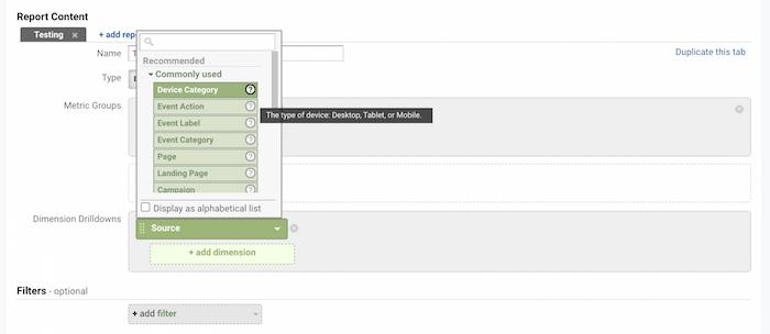 Google Analytics - اطلاعات مربوط به هر معیار