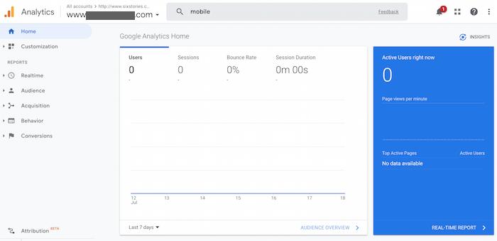 رابط اولیه Google Analytics