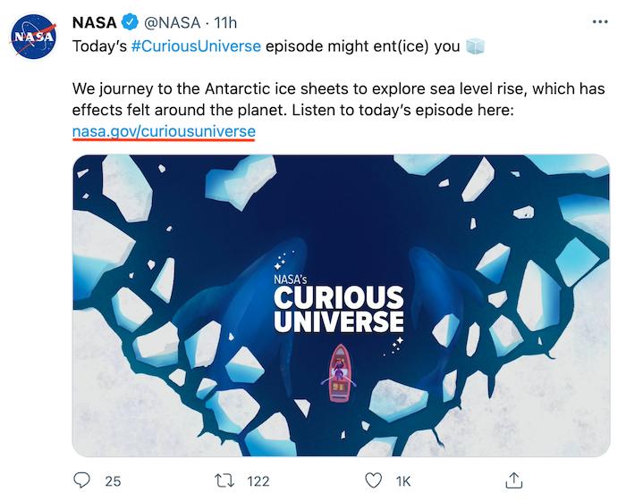 پیوند گزینه های جایگزین کوتاه کننده به Goo.gl - نمونه ای از فید توییتر ناسا