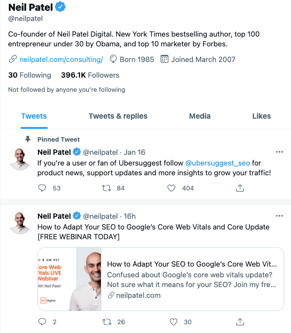 Meta Tags For Neil Patel's Twitter Account