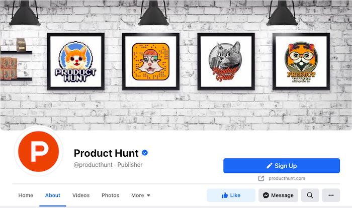 Product Hunt Facebook Social Media Profile Example