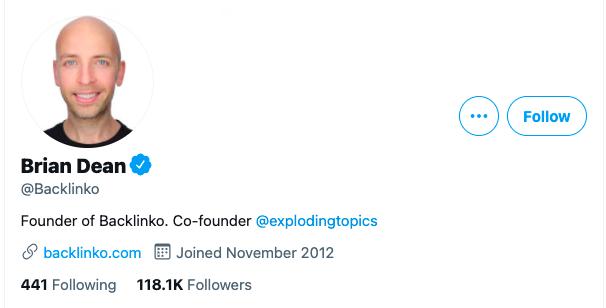 Backlinko Twitter Social Media  Profile Example