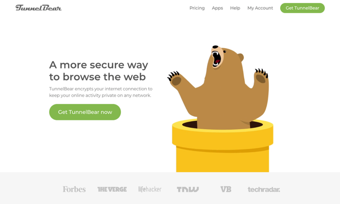 Tunnelbear main page for Best VPN Services
