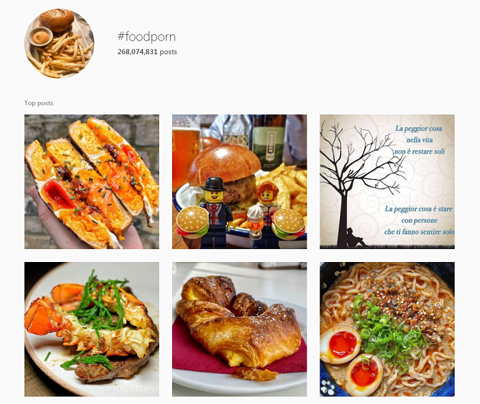 The restaurant marketing hashtag #foodporn has 268 million posts.