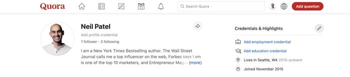 adding credentials to your quora profile