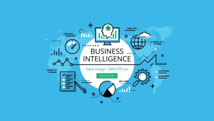 imagem azul com ilustraçao de business intelligence