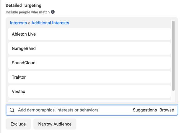 Facebook advertising - targeting by interest