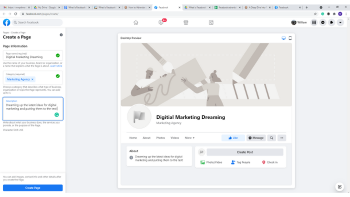 facebook advertising - creating a business page