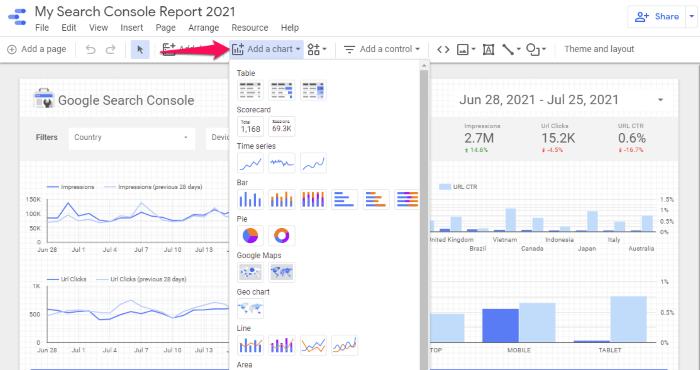 Google data studio - add new chart