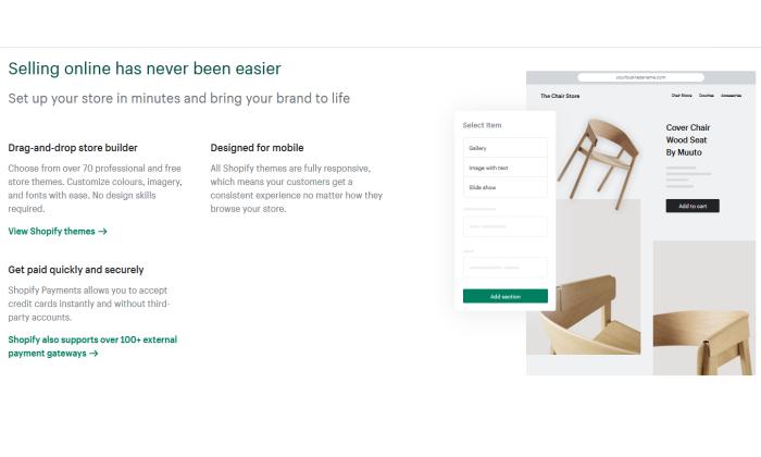 Shopify sell online splash page for Best Website Builder