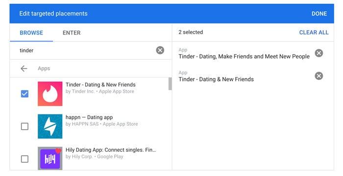 نحوه ایجاد تبلیغات Tinder در Google - قرار دادن تبلیغات Tinder