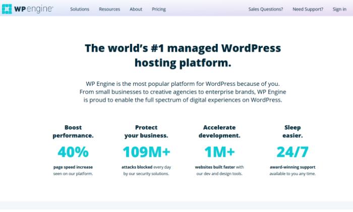 WP Engine splash page for Best Shared Hosting
