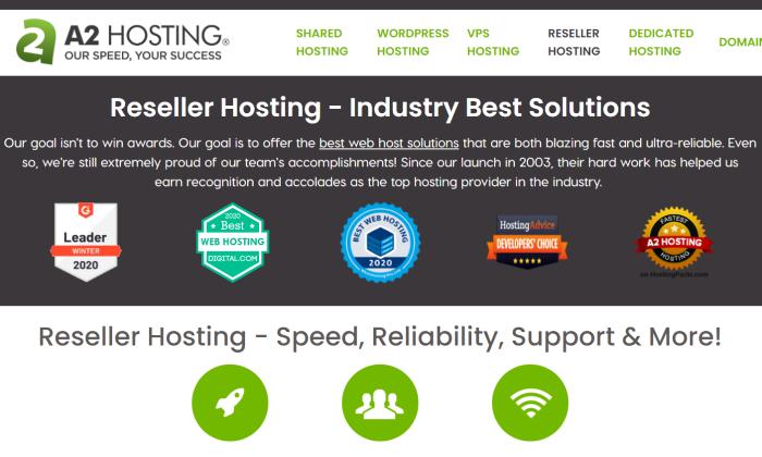 A2 Hosting main page for Best Reseller Hosting