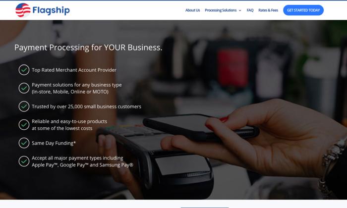 Flagship Merchant Services splash page for Best Merchant Services