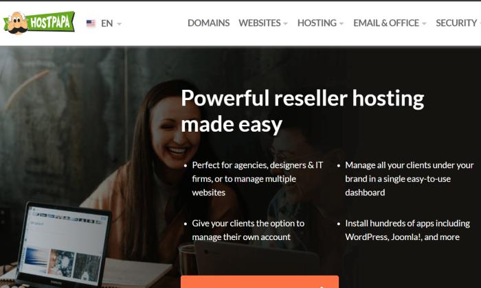 HostPapa main page for Best Reseller Hosting