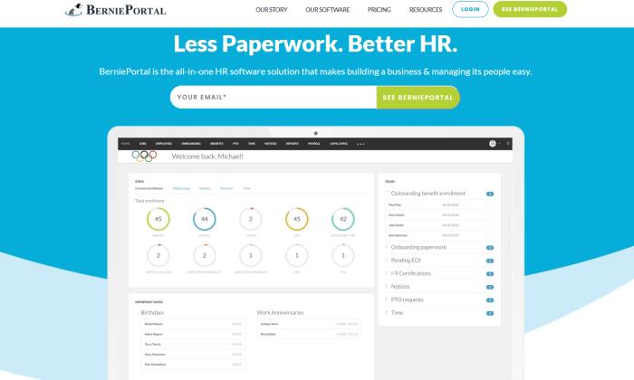 BerniePortal interface splash page for Best HR Software