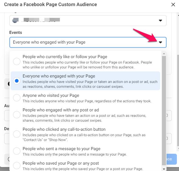 facebook ad custom audience engagement
