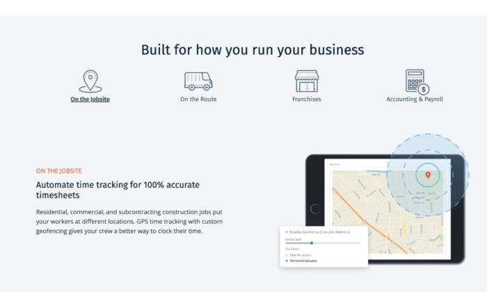 ClockShark sales page for Best Time Clock Software