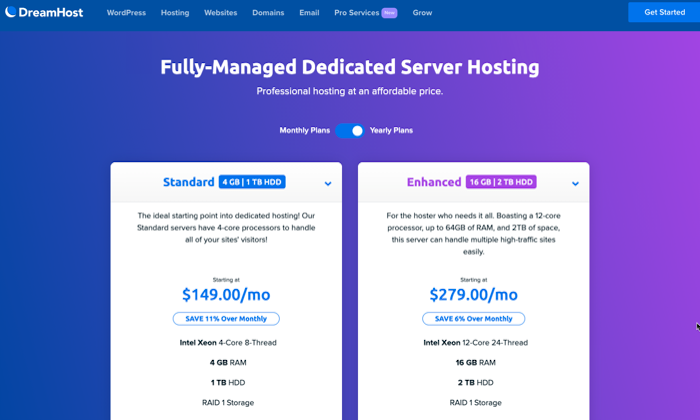DreamHost pricing page for Best Dedicated Hosting