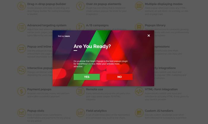 Green Popups demo for Best WordPress Popup Plugins
