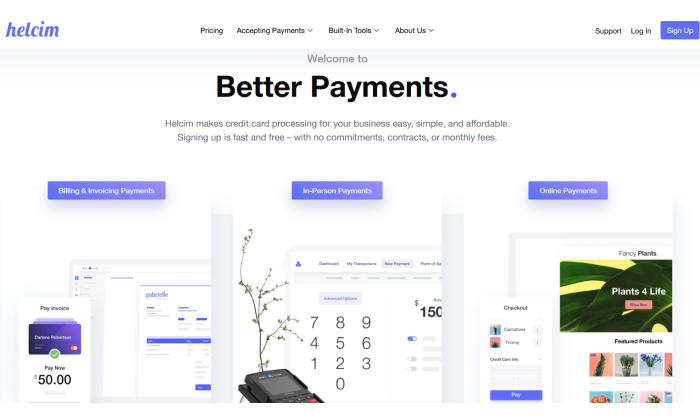 Helcim splash page for Best Merchant Services