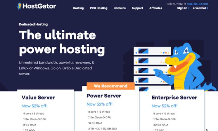HostGator main page for Best Dedicated Hosting