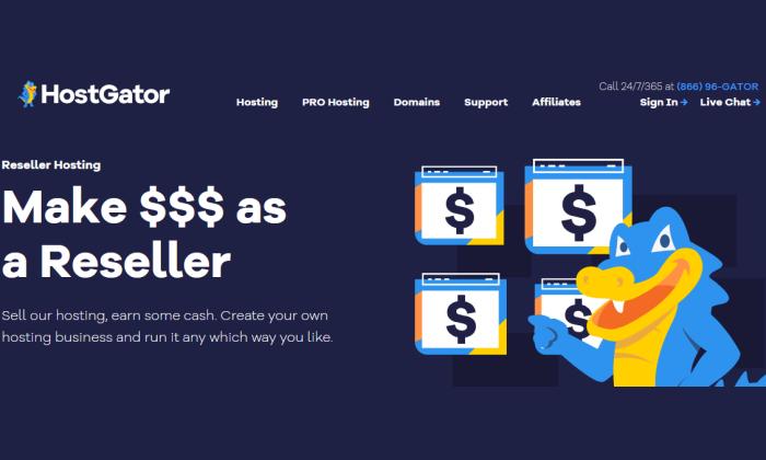 HostGator main page for Best Reseller Hosting