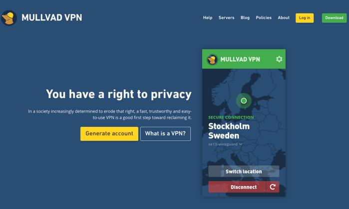Mullvad main page for Best VPN Services