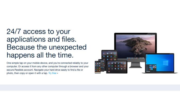 صفحه splash Parallels Access برای بهترین نرم افزار دسترسی از راه دور