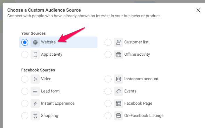 select source for facebook retargeting ads