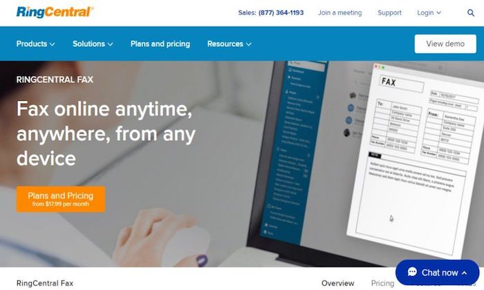 RingCentral Fax splash page for Best Online Fax Services