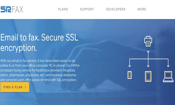SRFax splash page for Best Online Fax Services