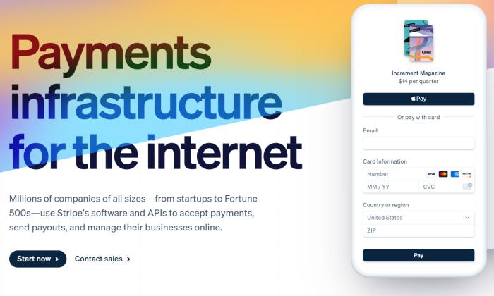 Stripe splash page for Best Merchant Services