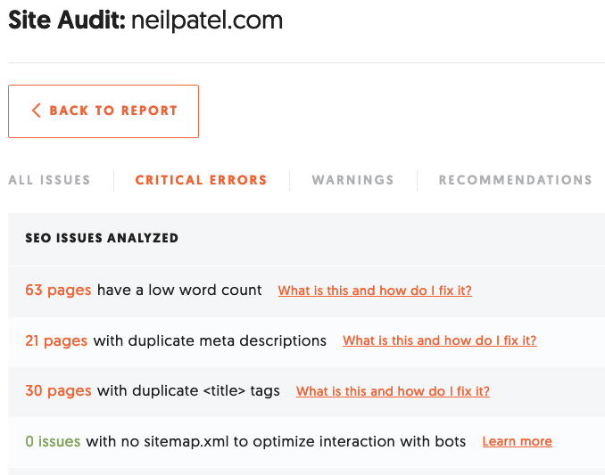 Ubersuggest site audit results for How to Create an SEO-Boosting XML Sitemap
