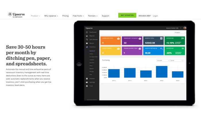 Upserve interface splash page for Best Inventory Management Software