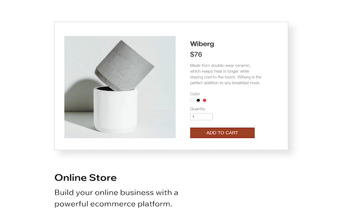 Wix product page for Best Ecommerce Website Builders