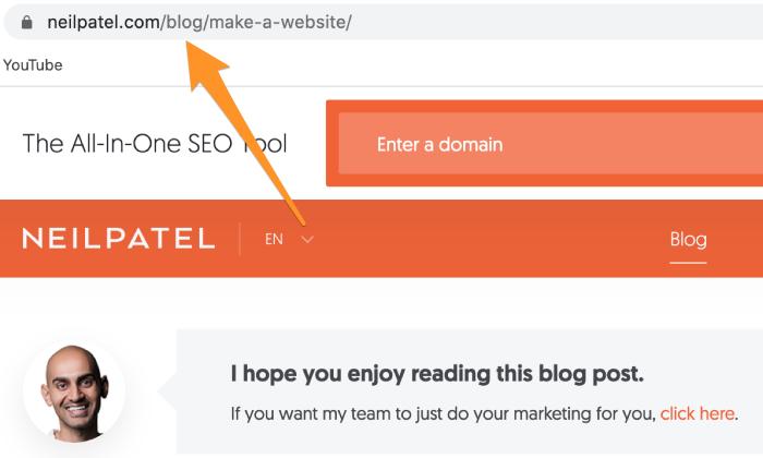 NeilPatel.com permalink example for How To Build a WordPress Website
