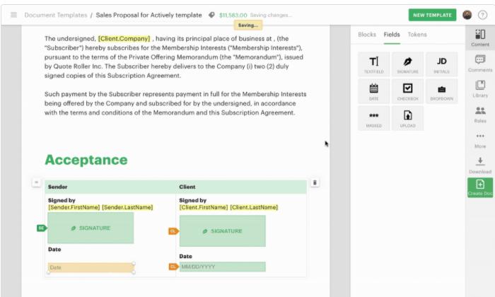 PandaDoc interface for Best Document Management Software